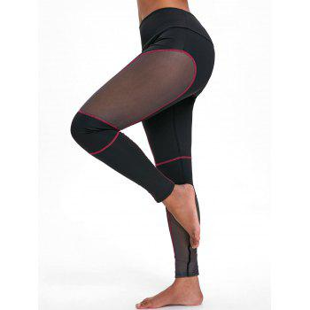Sports See Through Mesh Panel  Leggings - RED L
