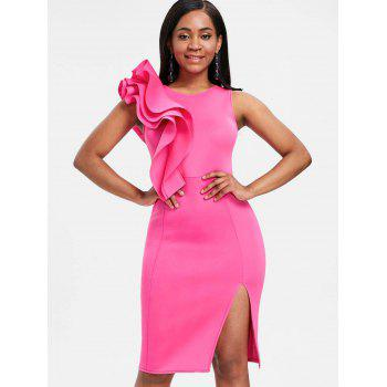 Side Slit Ruffle Bodycon Party Dress - HOT PINK S