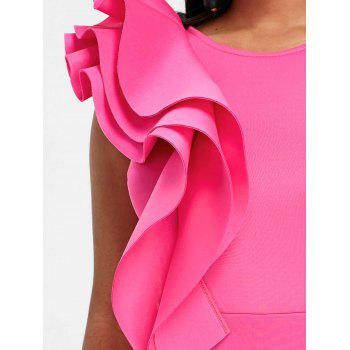 Side Slit Ruffle Bodycon Party Dress - HOT PINK M