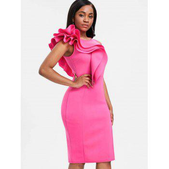 Side Slit Ruffle Bodycon Party Dress - HOT PINK XL