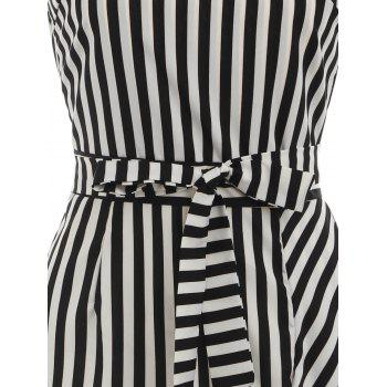 Spaghetti Strap Striped High Low Dress - BLACK M