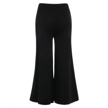 Ladder Cut Out Wide Leg Pants - BLACK M