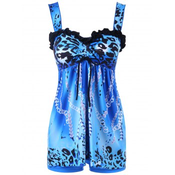 Cheetah Print Empire Waisted Tankini - BLUE M