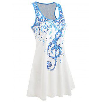 Musical Notes Racerback Mini Swing Dress - WHITE S