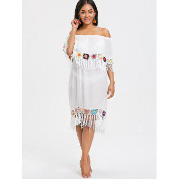 Fringed Crochet Panel Beach Cover Up Dress - WHITE ONE SIZE
