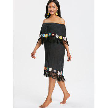 Fringed Crochet Panel Beach Cover Up Dress - BLACK ONE SIZE