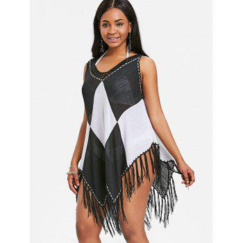Two Tone Asymmetric Fringed Cover Up - BLACK ONE SIZE