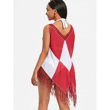 Two Tone Asymmetric Fringed Cover Up - RED ONE SIZE