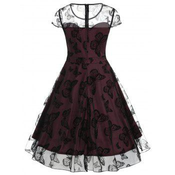 Butterfly Lace Overlay Midi Vintage Dress - RED WINE XL