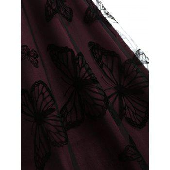 Butterfly Lace Overlay Midi Vintage Dress - RED WINE 2XL