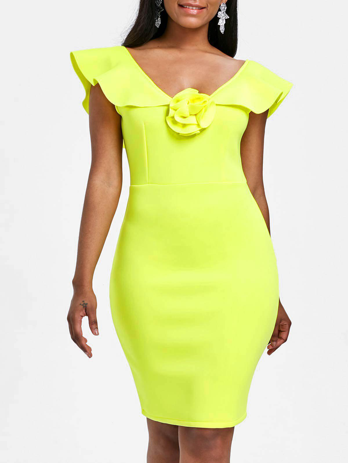 Sleeveless Flounce Bodycon Party Dress - YELLOW XL