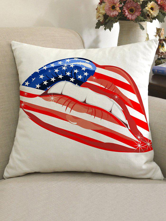 American Flag Lip Pattern Linen Sofa Pillowcase - multicolor W18 INCH * L18 INCH