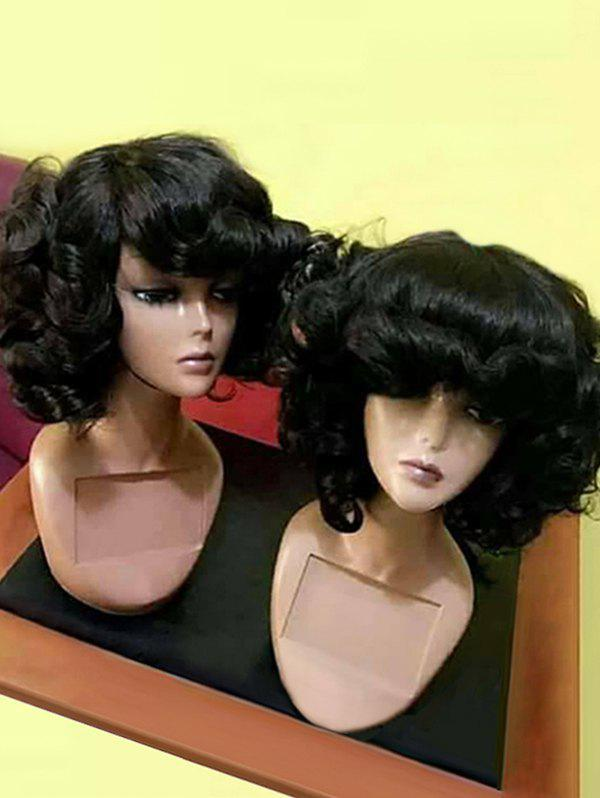 Oblique Bang Fluffy Medium Curly Synthetic Wig - BLACK