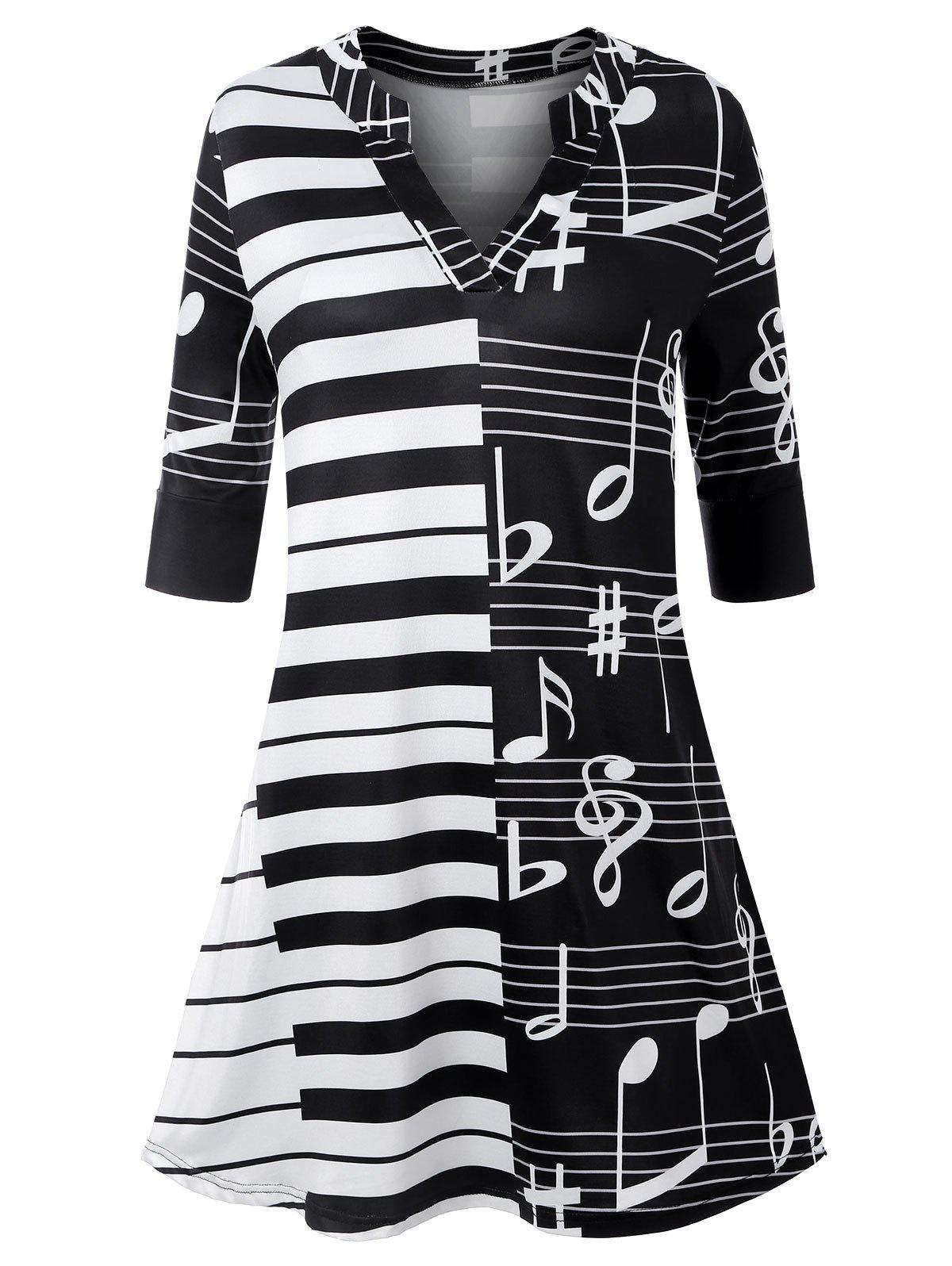 Plus Size Music Note Piano Tunic Top - BLACK 5XL