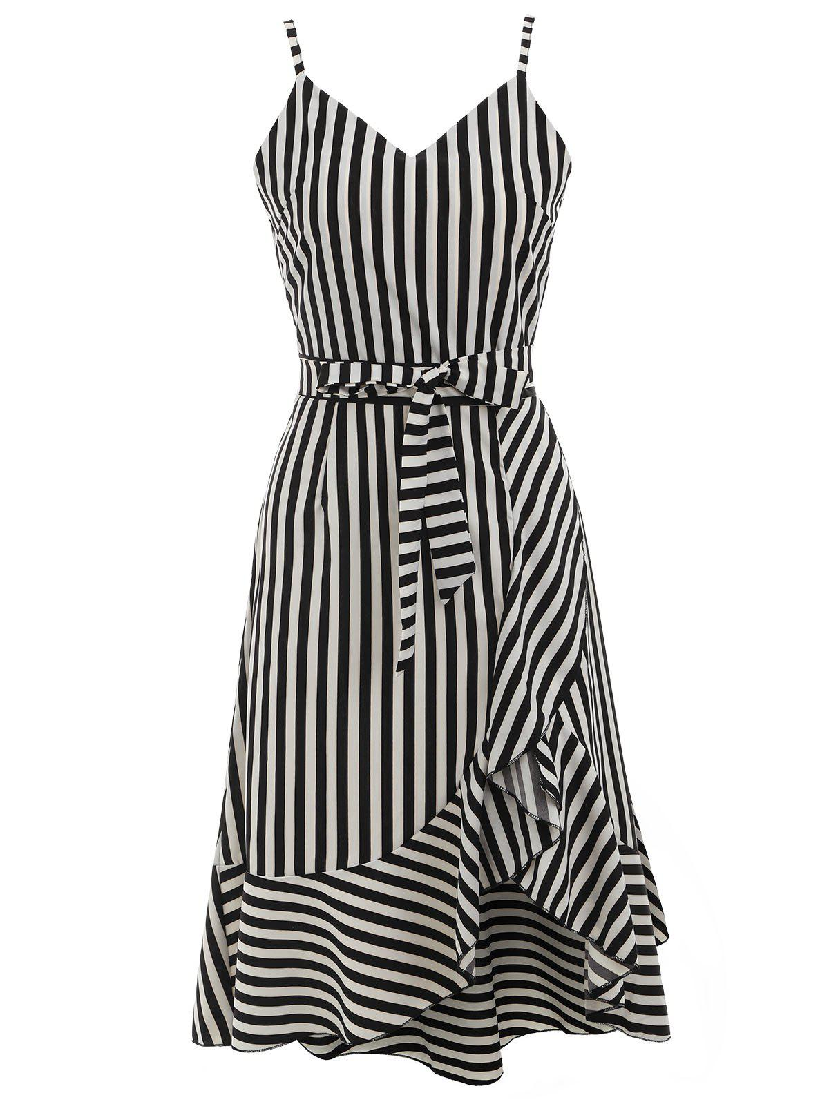 Spaghetti Strap Striped High Low Dress - BLACK S
