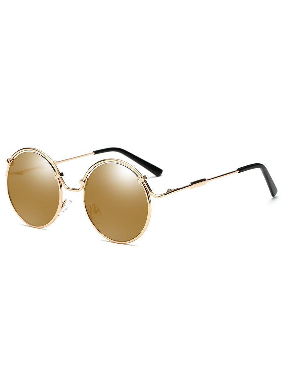 Metal Full Frame Flat Lens Circle Sunglasses - GOLDEN/LUXURY GOLD COLOR