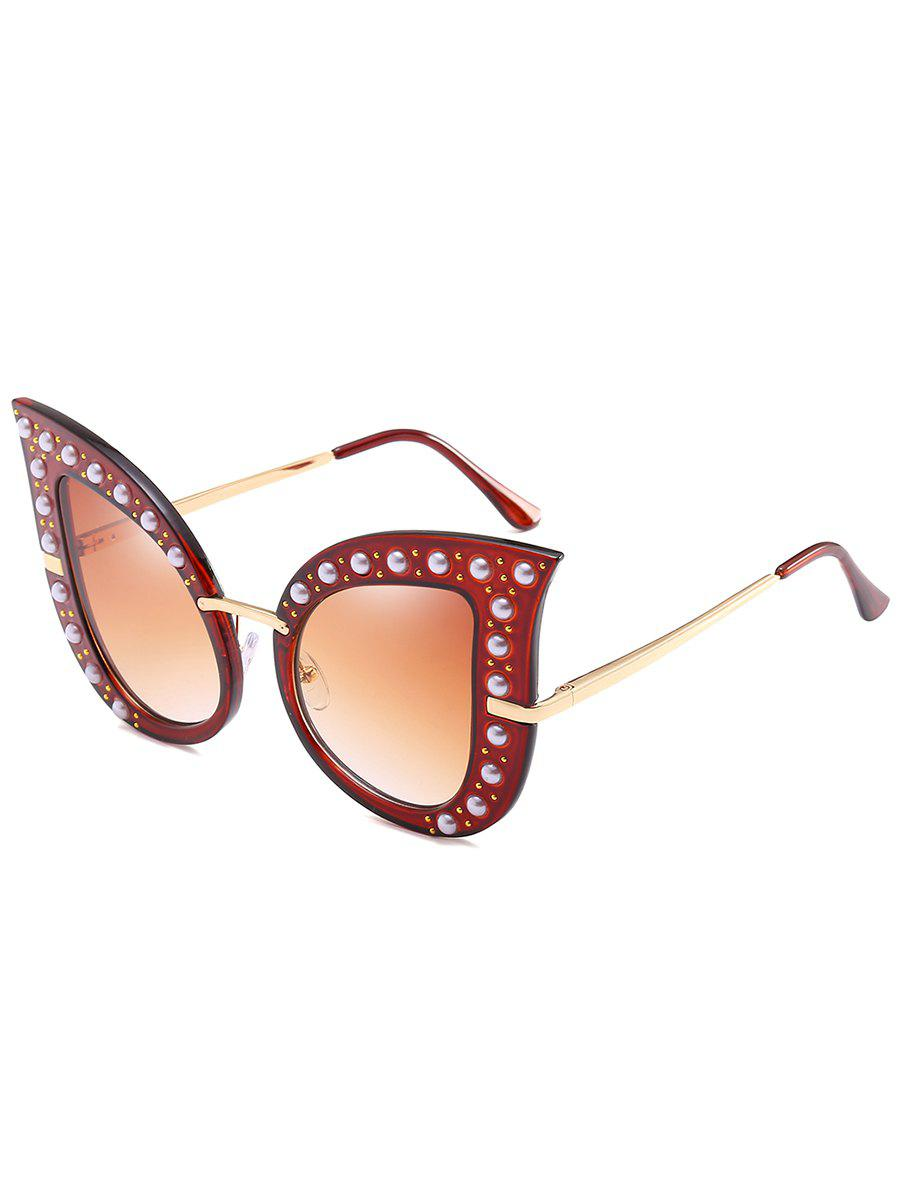 Anti Fatigue Faux Pearl Decorated Sunglasses - TRANSPARENT TAWNY FRAME / TAWNY MERCURY LENS