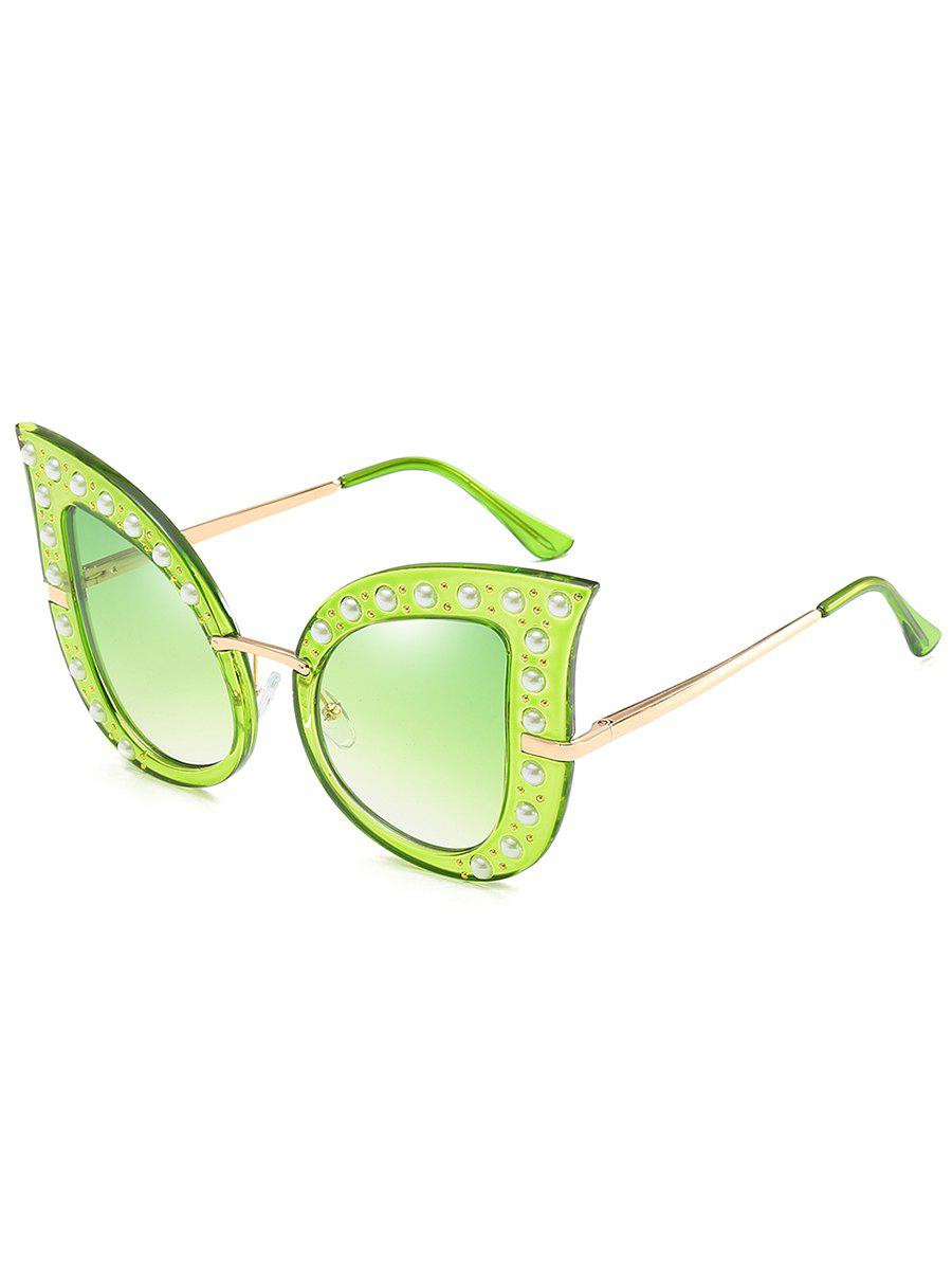 Anti Fatigue Faux Pearl Decorated Sunglasses - GREEN SNAKE