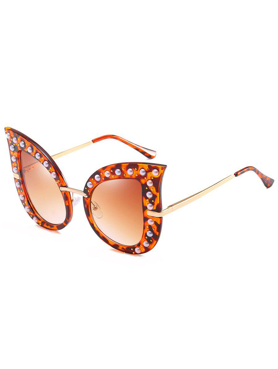 Anti Fatigue Faux Pearl Decorated Sunglasses - ORANGE SALMON