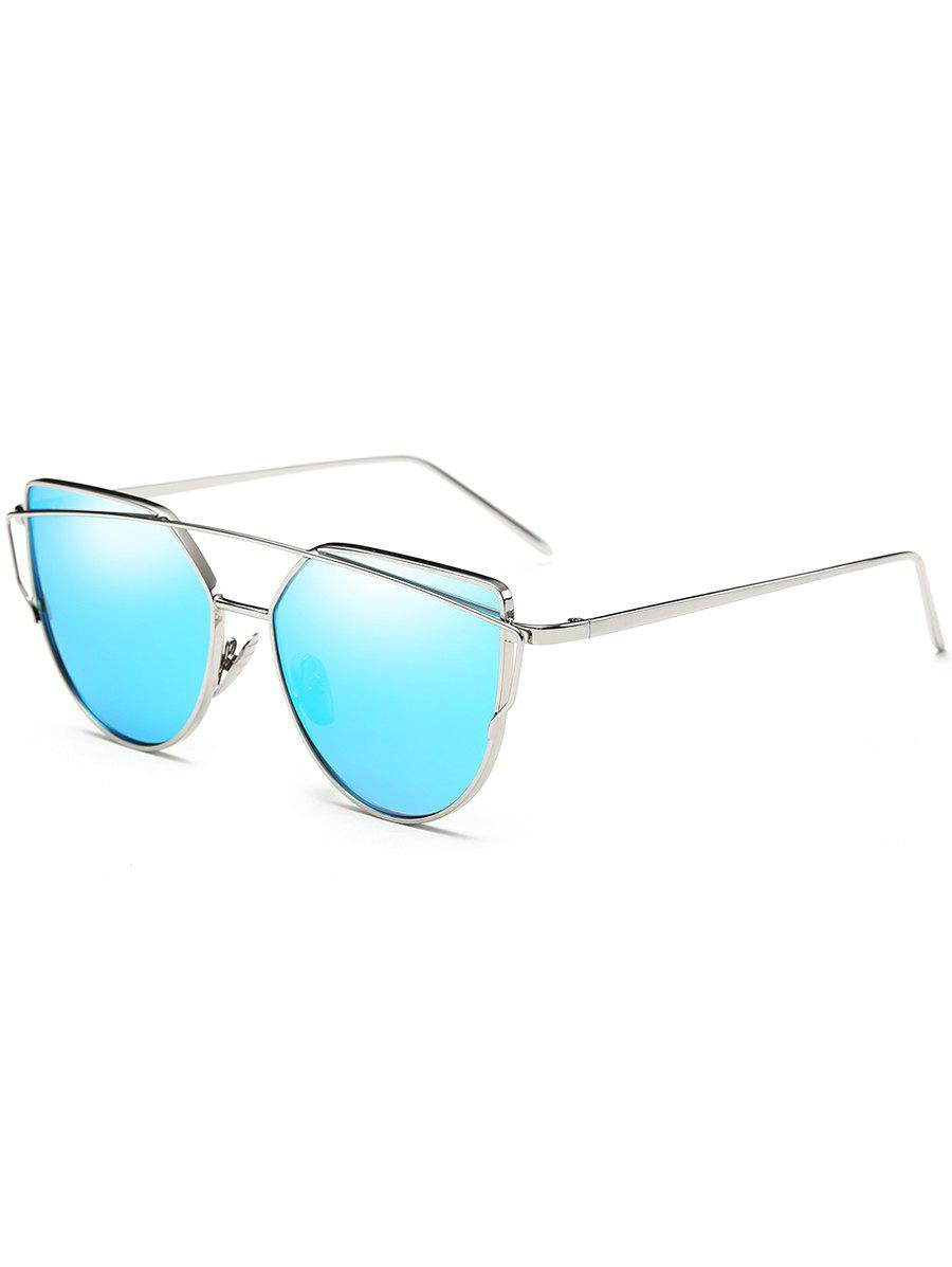 Retro Metal Frame Crossbar Flat Lens Driver Sunglasses - DAY SKY BLUE