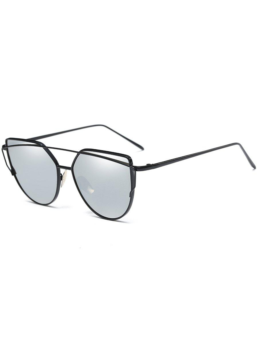 Retro Metal Frame Crossbar Flat Lens Driver Sunglasses - BLACK/MERCURY