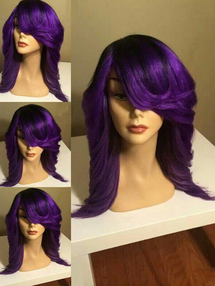 Long Side Parting Wavy Colormix Party Synthetic Wig long side parting shaggy wavy party wig
