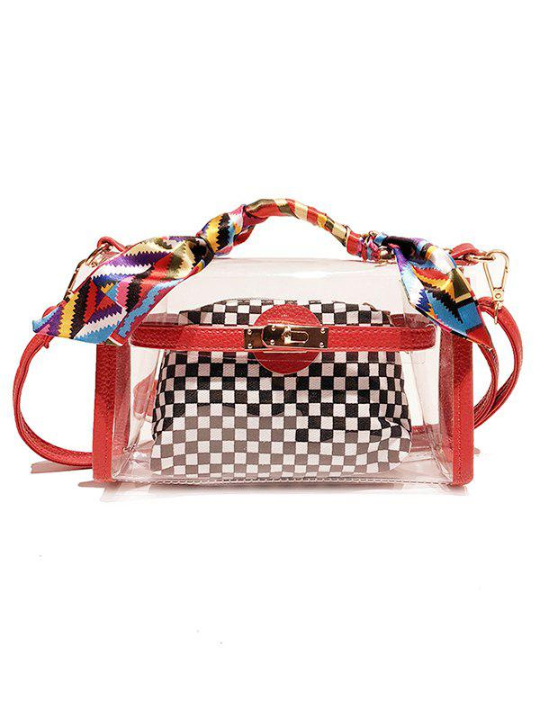 Checkered Scarves Clear Handbag with Strap - RED
