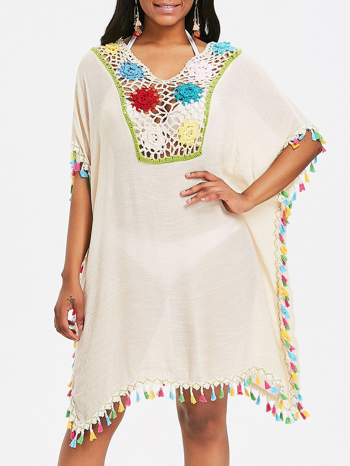 Crochet Insert Tassel Cover Up Dress tassel insert back fitted dress