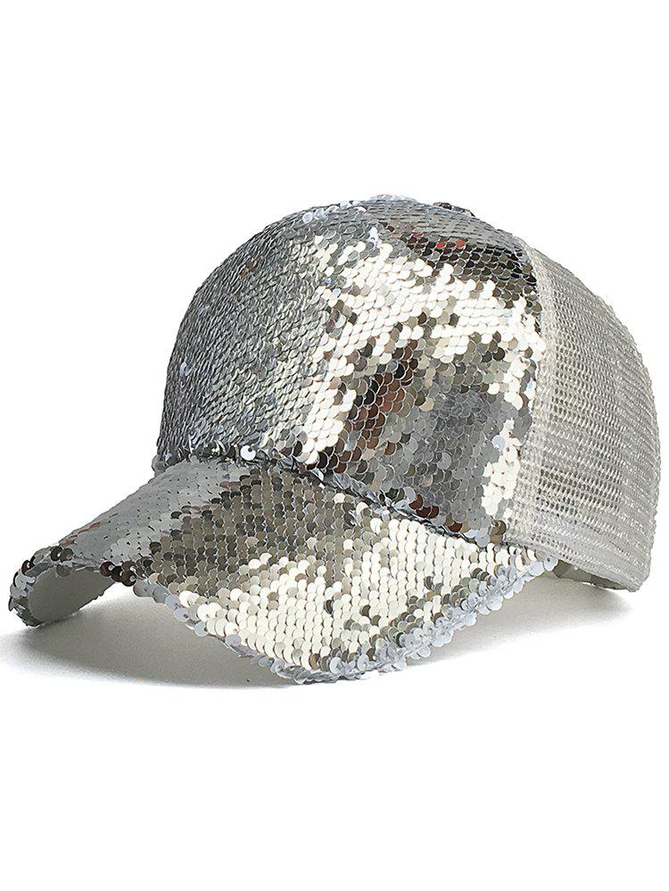 Sequins Decorated Mesh Sunscreen Hat - SILVER