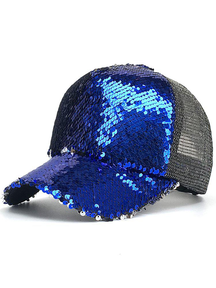 Sequins Decorated Mesh Sunscreen Hat - BLUE