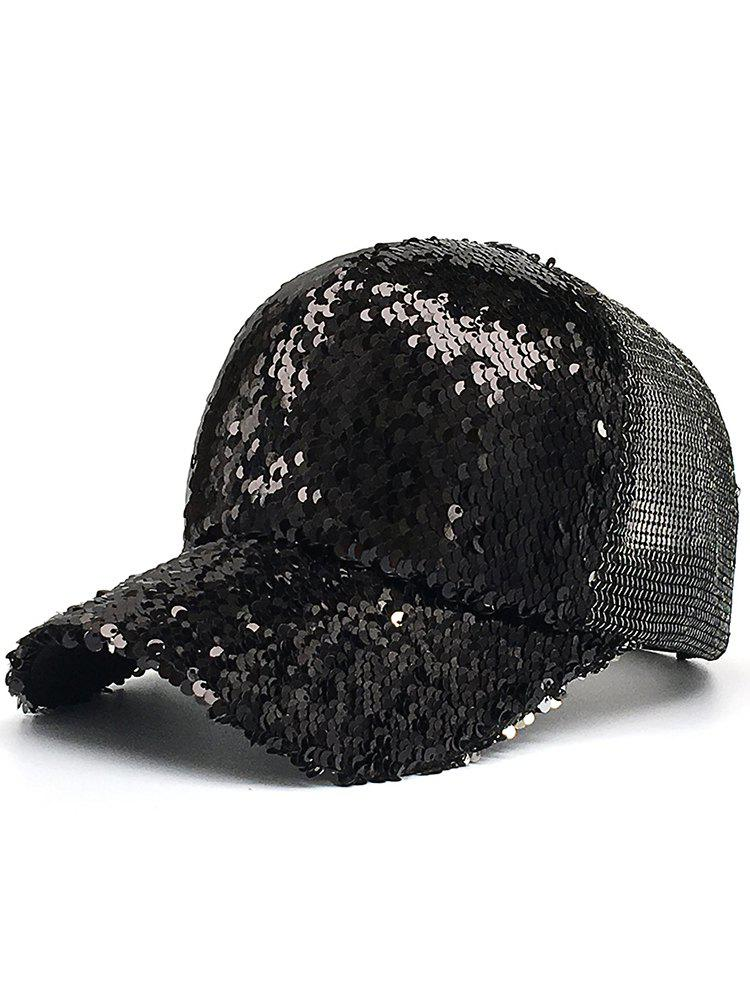 Sequins Decorated Mesh Sunscreen Hat - BLACK
