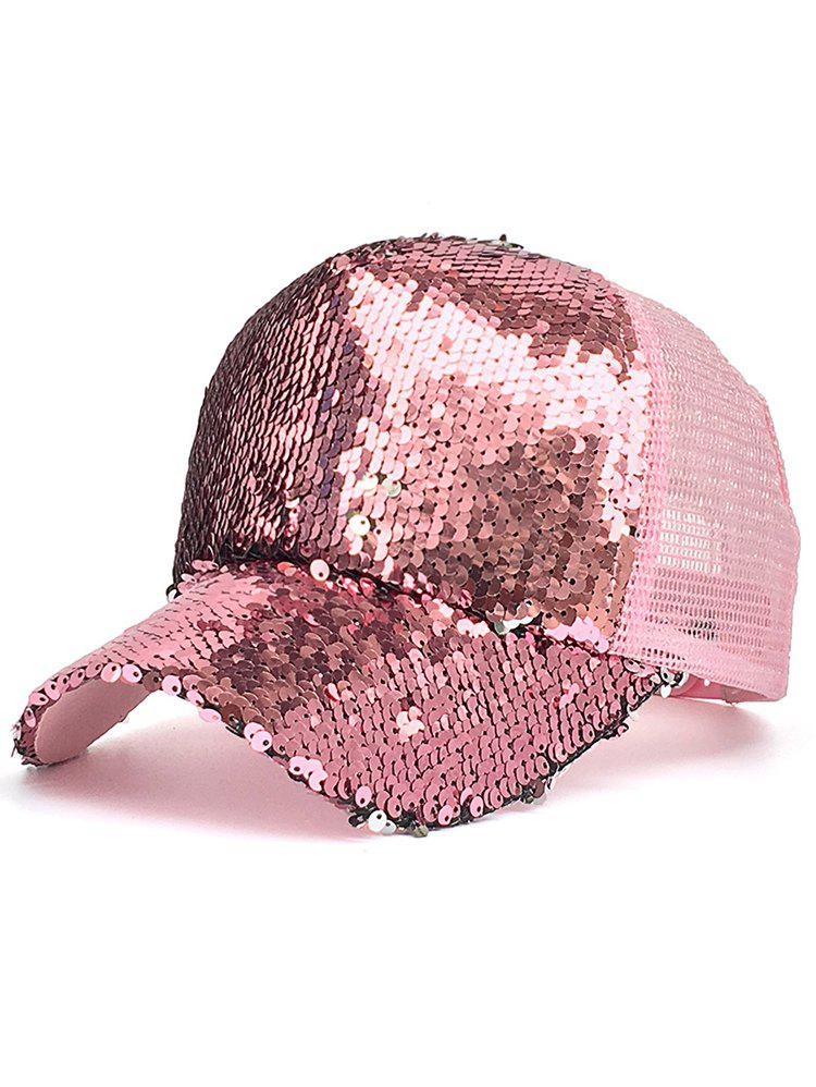Sequins Decorated Mesh Sunscreen Hat - LIGHT PINK