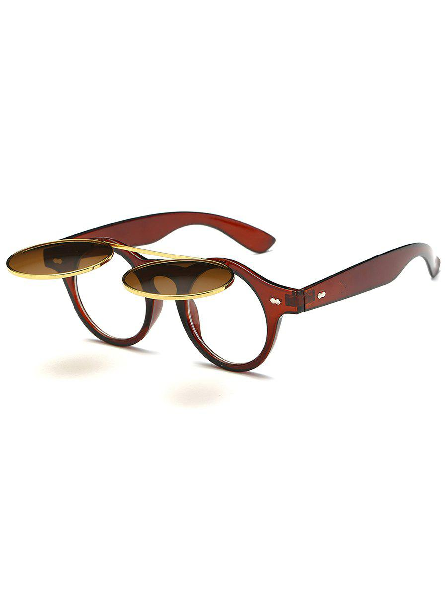 Anti Fatigue Flip Up Flat Lens Circle Sunglasses - TRANSPARENT TAWNY FRAME / TAWNY MERCURY LENS