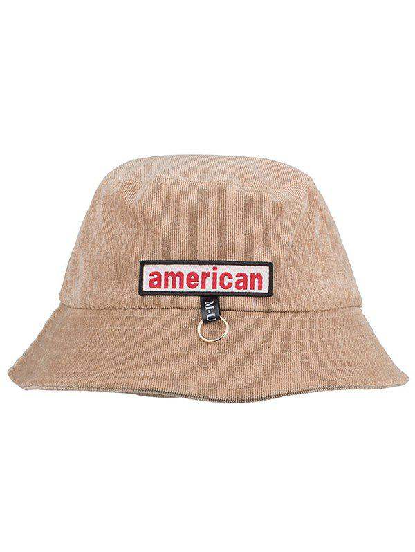 Unique Metal Ring AMERICA Pattern Sun Hat - KHAKI ROSE