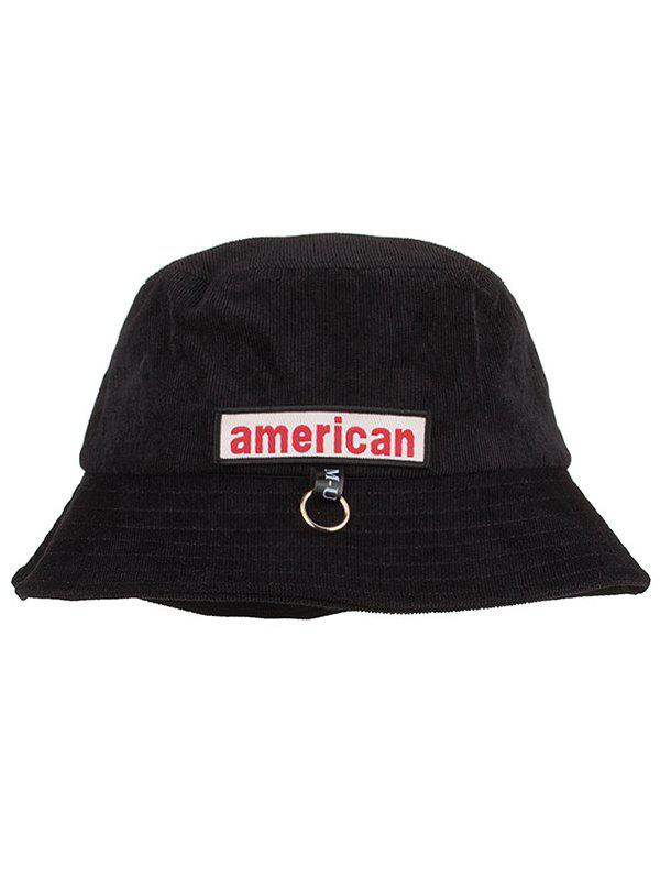 Unique Metal Ring AMERICA Pattern Sun Hat - BLACK