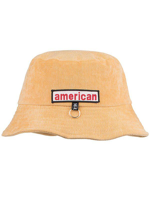 Unique Metal Ring AMERICA Pattern Sun Hat - MACARONI/CHEESE