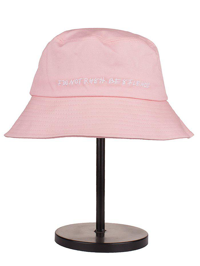 Letter Embroidery Cotton Bucket Hat - LIGHT PINK
