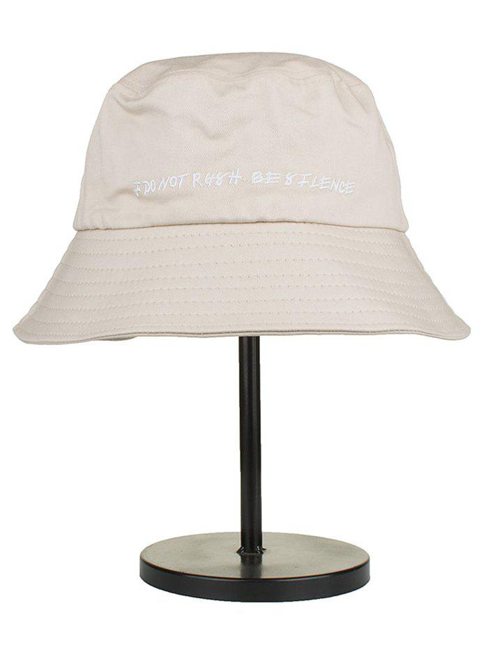 Letter Embroidery Cotton Bucket Hat - BEIGE