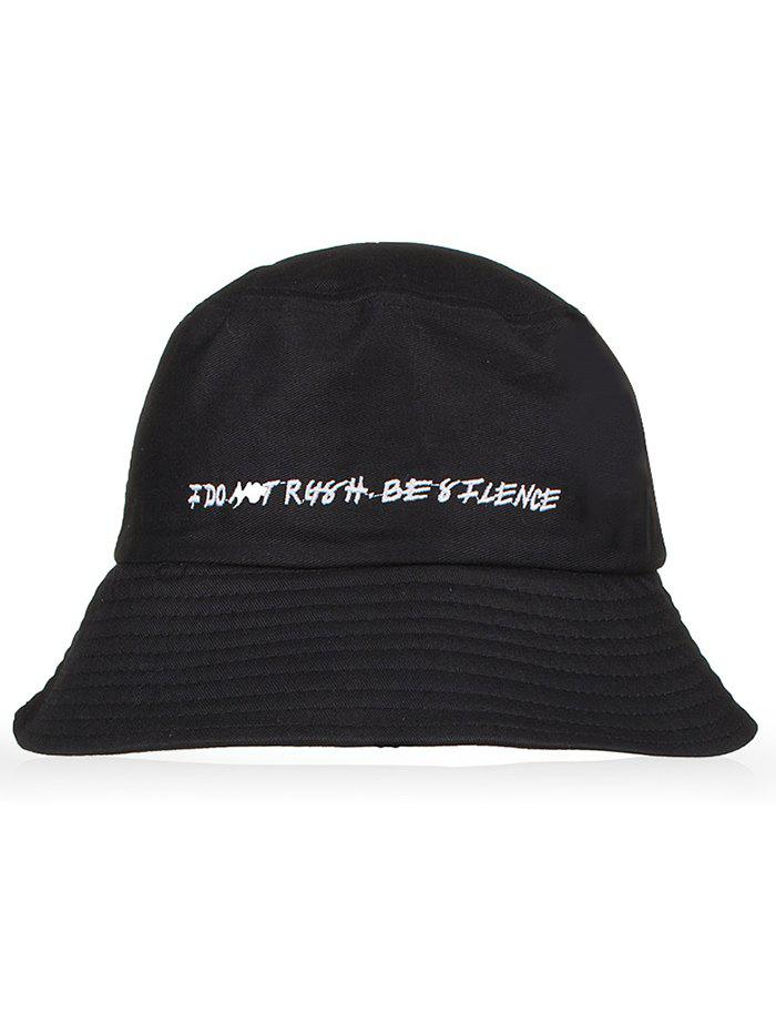 Letter Embroidery Cotton Bucket Hat - BLACK