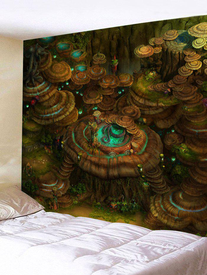 Mushroom Forest Print Tapestry Wall Art wild edible mushroom in forest ecosystem