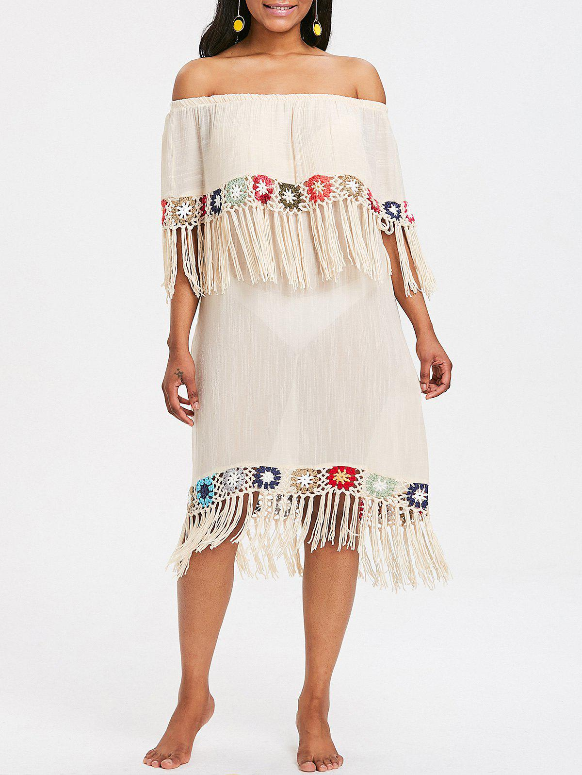 Fringed Crochet Panel Beach Cover Up Dress - BEIGE ONE SIZE