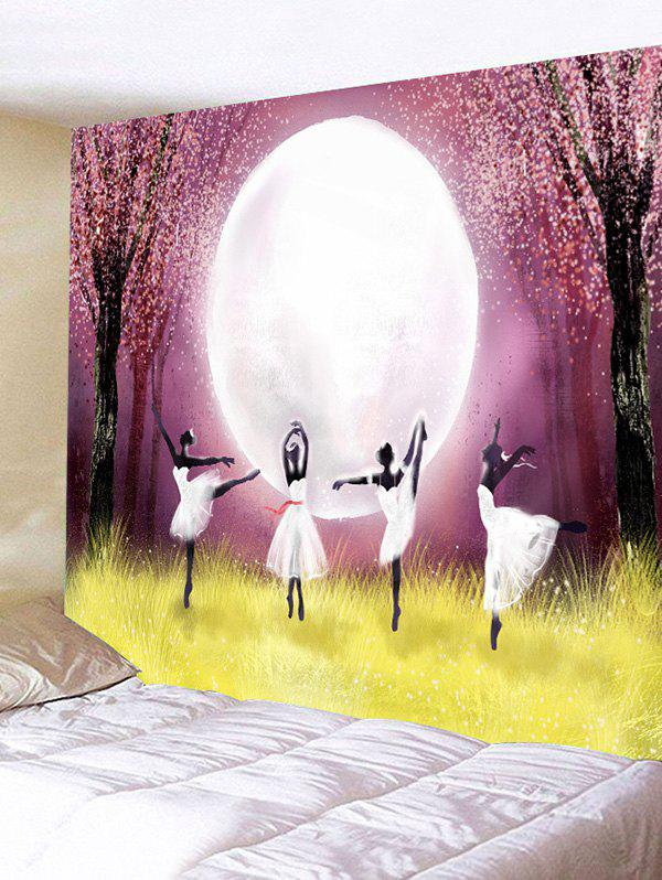 Moon Night Ballet Dancer Print Tapestry Wall Art - multicolor W59 INCH * L51 INCH