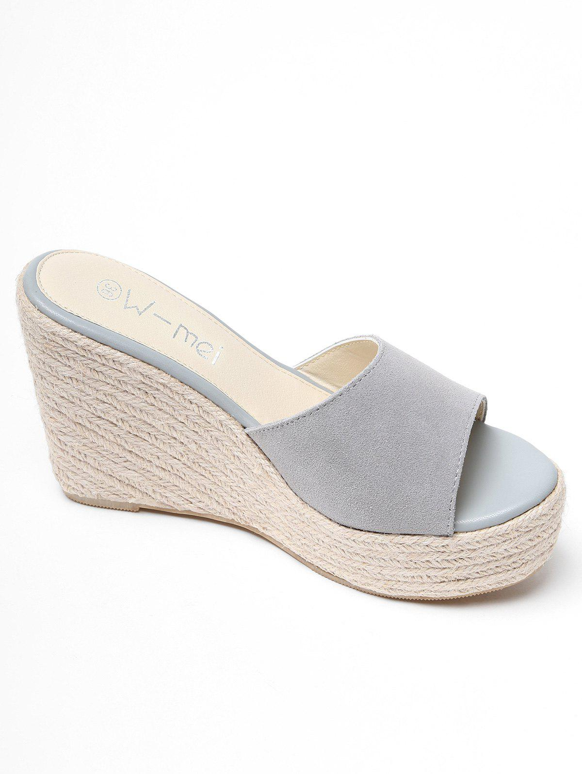 2018 Espadrille Wedge Heel Slides Shoes Gray In Slippers Online High With Pompoms 38