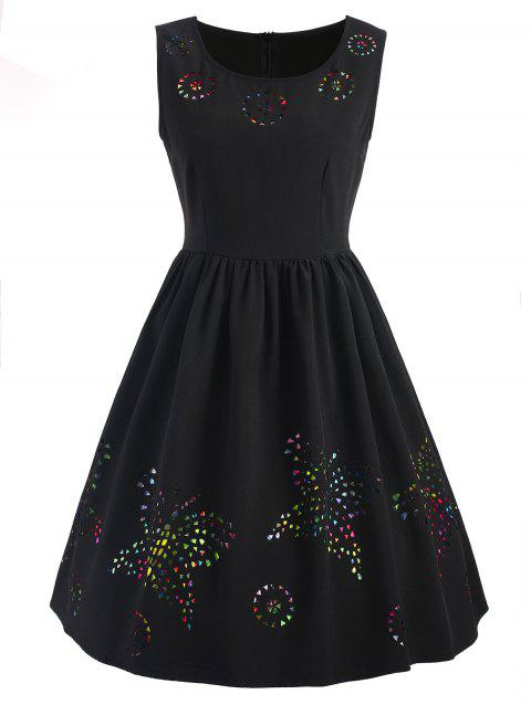 Hollow Out Butterfly Sleeveless Flare Dress - BLACK M