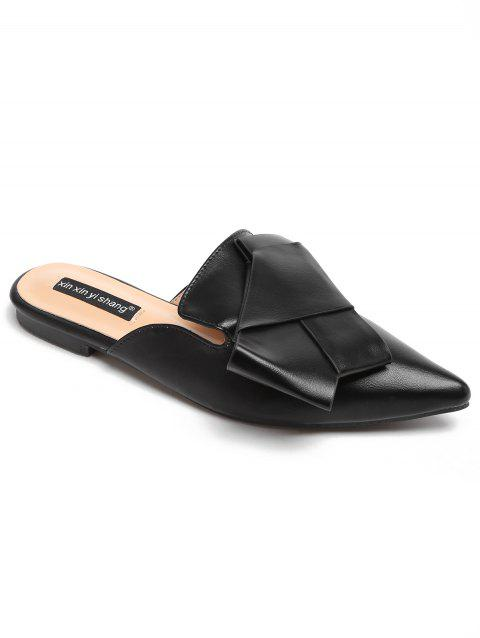 Faux Leather Slip On Casual Mules Shoes - BLACK 40