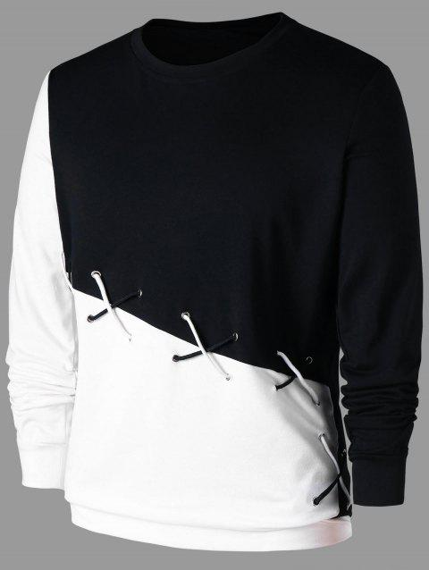 Two Tones Sweatshirt with Lace Up - WHITE/BLACK 2XL