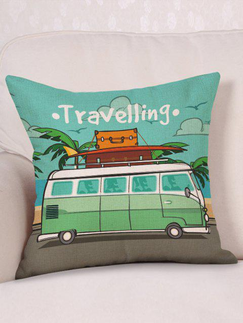 Motor Home Travelling Print Linen Pillowcase - multicolor W18 INCH * L18 INCH