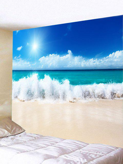Sky Beach Sea Waves Printed Wall Art Tapestry - SKY BLUE W79 INCH * L59 INCH