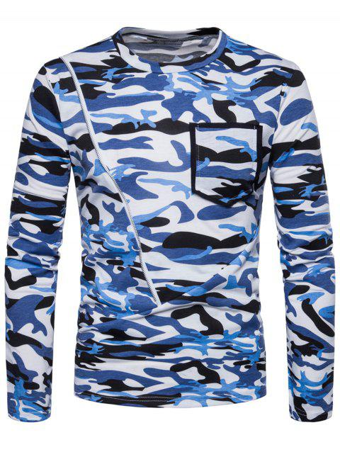Zipper Pocket Design Camo Print Crew Neck T-shirt - BUTTERFLY BLUE XL