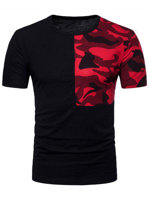 Camouflage Splicing Crew Neck T-shirt - BLACK L